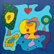 Inner Peace Acryl Op Linnen 70 X 70 Cm